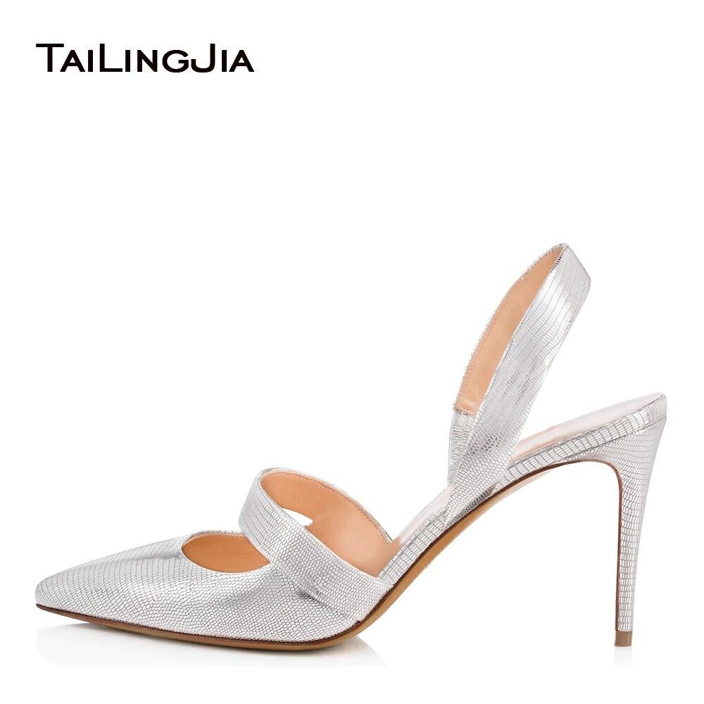 Pointed Toe High Heel Pumps Mid Heel Slingbacks for Women Black Dress Heels Ladies Summer Shoes Large Size White Wedding Shoes