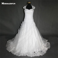 2017 A Line Cap Sleeve Sweetheart Pleated Organza Lace Appliques Wedding Dresses White Ivory Bridal Gown