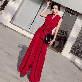 Women Wide Leg Jumpsuit Summer Bandage Long Rompers Womens Black Red Beige Jumpsuit Sexy Solid V-Neck Overalls Casual Mono Mujer outfits para playa mujer 2019