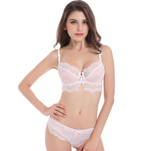 45a8c502b93 2016 Fashion Hot Sale Very Sexy Lace Ladies Sheer Bra Set with Lace Panties  Womens Underwear Lingerie Plus Size Bra in D cup