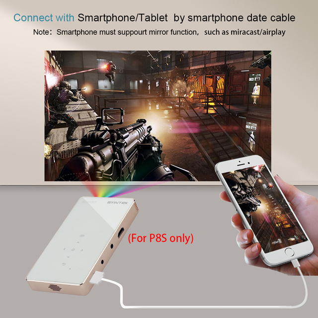 BYINTEK UFO P8I Android 7.1 OS Pico Pocket HD Portable Micro lAsEr WIFI Bluetooth Mini LED DLP Projector with Battery HDMI USB 5