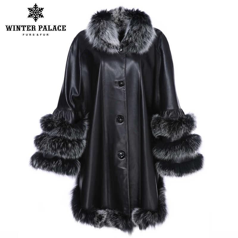 Кожаная куртка из натуральной кожи. Осень-Весна. Модель-летучая мышь с воротником из меха лисицы. Пончо для женщин, рукав три четверти.