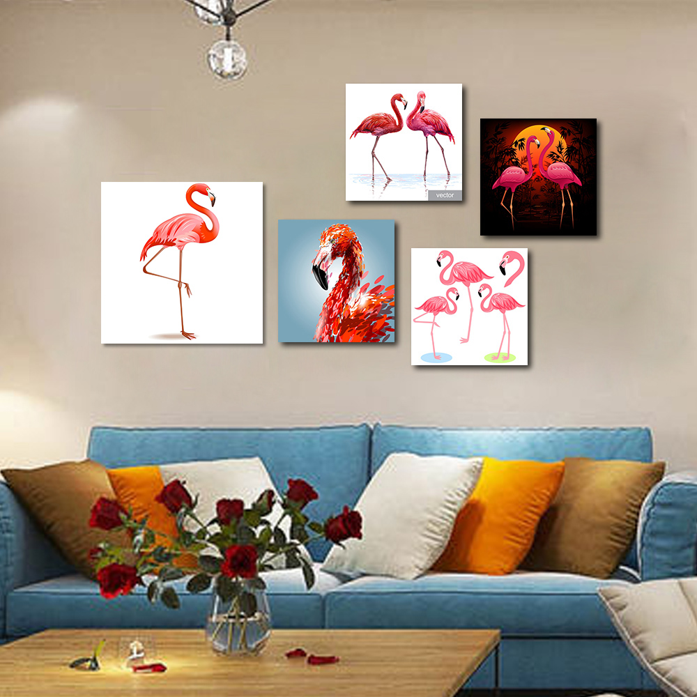 Unframed Multiple Pieces HD Canvas Portraits Pink Flamingos Decorative Paintings Living Room Mural Unframed