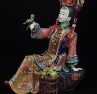 Китайский Керамика WUCAI фарфор украшения женские девочка Попугай Птица статуя