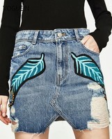 VOGUE N New Women Casual Sexy Feather Print Floral Denim Holes Jean Mini Skirts