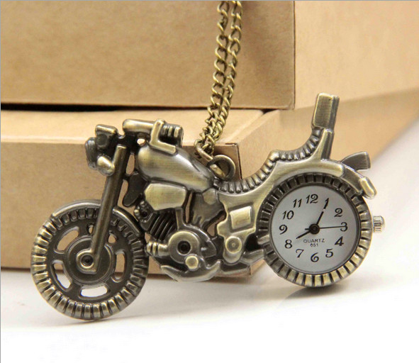 New Bronze Vintage Retro Motorcycle Motorbike Pocket Watch Necklace Pendant Women Watches Quartz Watches Best Gifts Relogio