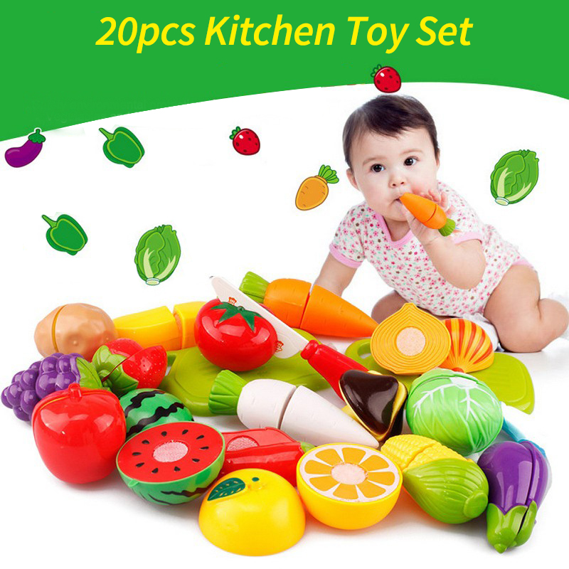 20pcs Vegetables Fruit Kitchen Toys Set For Kids Children Food Cutting Pretend Role Play Educational Toy