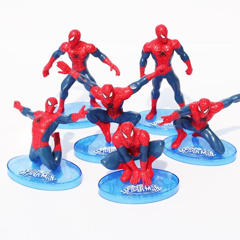 6Pcs/Set Spider-Man Figure The Avengers Spiderman Spider Man PVC Action Figure Toys 7-11cm Great Gift пластилин spider man 10 цветов