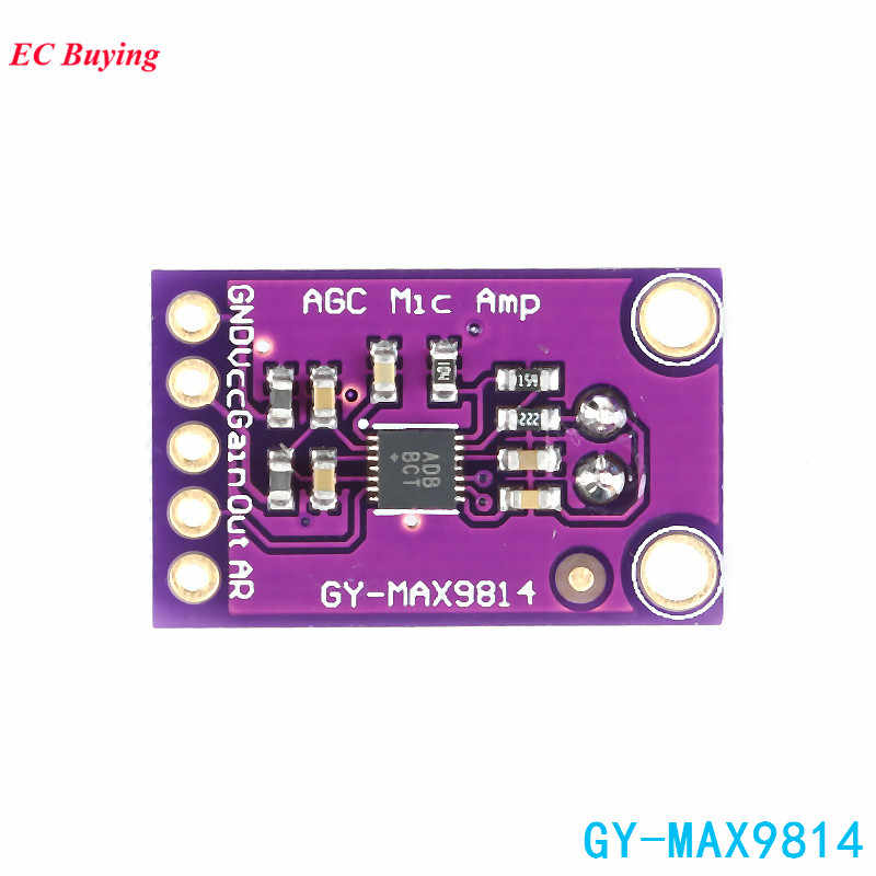 MAX9814 Electret Microphone Amplifier Board Module MIC Auto Gain Max  40dB/50dB/60dB Frequency 2 7V-5 5V With Pins For Arduino