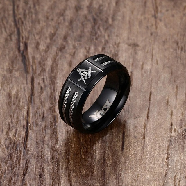 MasonicMan New Mens Black Rings Stainless Steel Double Wire Cable Inlay Ring For Men Wedding Band