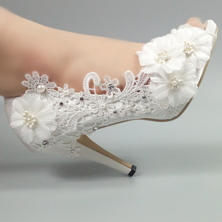 цена на Peep Toe White lace shoes Women's Pumps Fish toe flower Wedding shoes Bridesmaid Dress shoes New fashion shoes