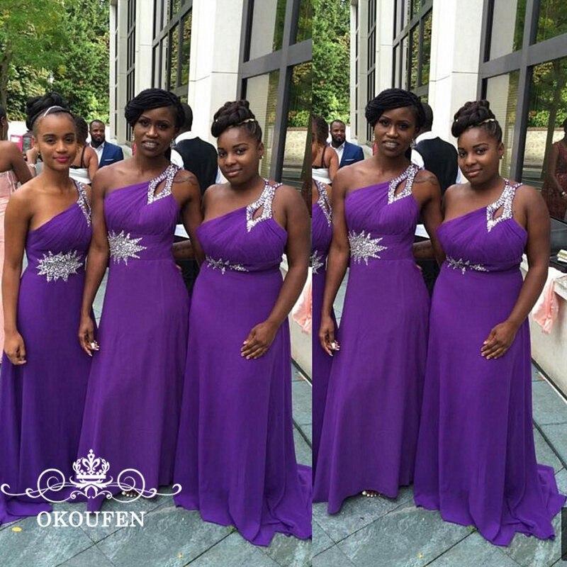 Luxe argent paillettes perles longues robes de demoiselle d'honneur violet mousseline de soie 2018 une épaule africaine une ligne robe de bal fête pour les femmes