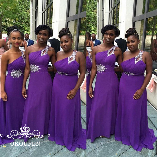 Luxury Silver Sequins Beads Long Bridesmaid Dresses Purple Chiffon 2018 One Shoulder African A Line Prom