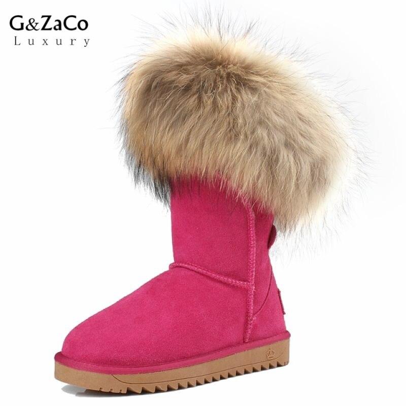 G&Zaco Luxury Winter Shoes For Women Real Fox Fur Snow Boots Ladies Elegant Knee high Genuine Leather Snow Boots Winter Boots