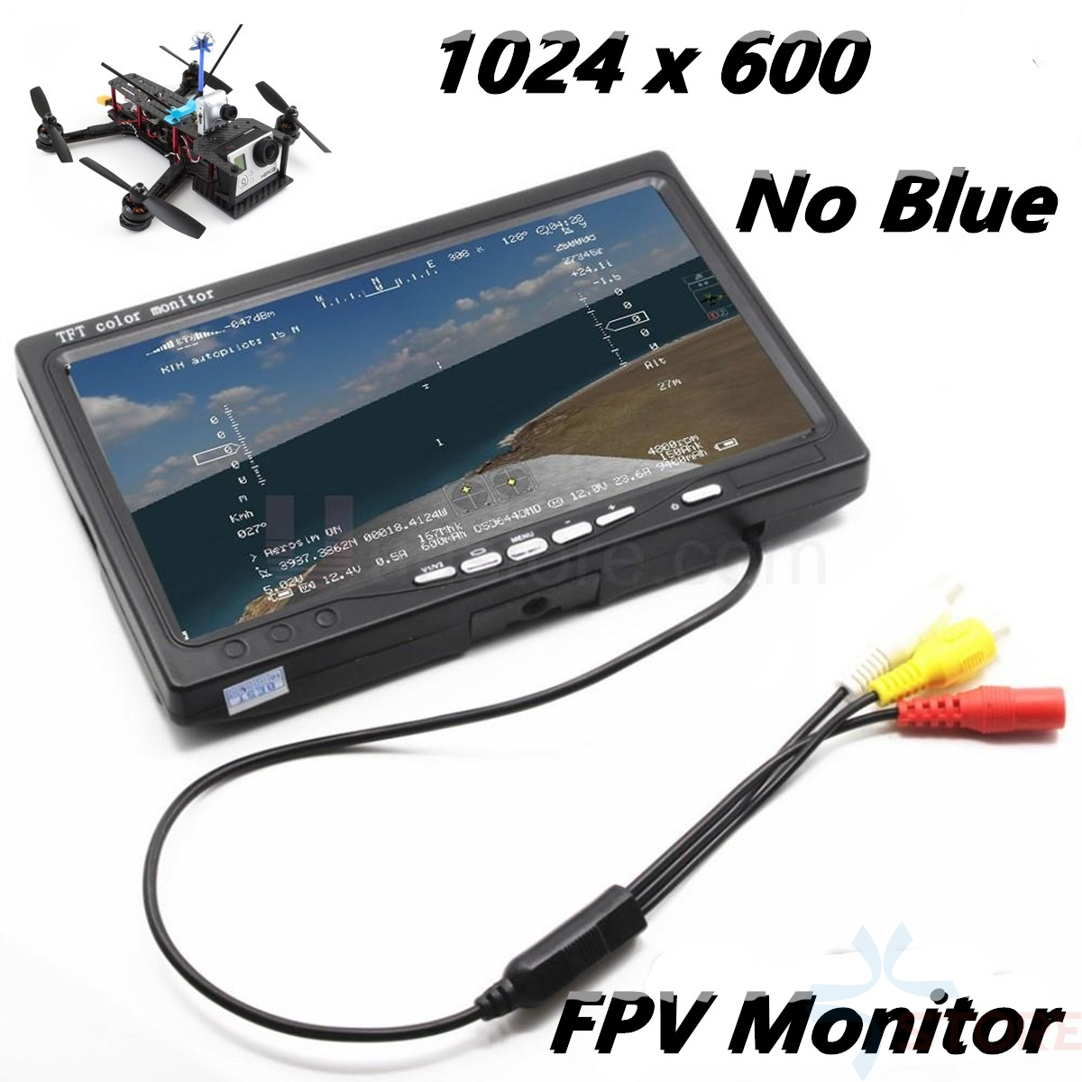 7 inch LCD TFT FPV Monitor 1024x600 w/T plug Screen No blue FPV Monitor Photography for Ground Station Phantom RC Model QAV250