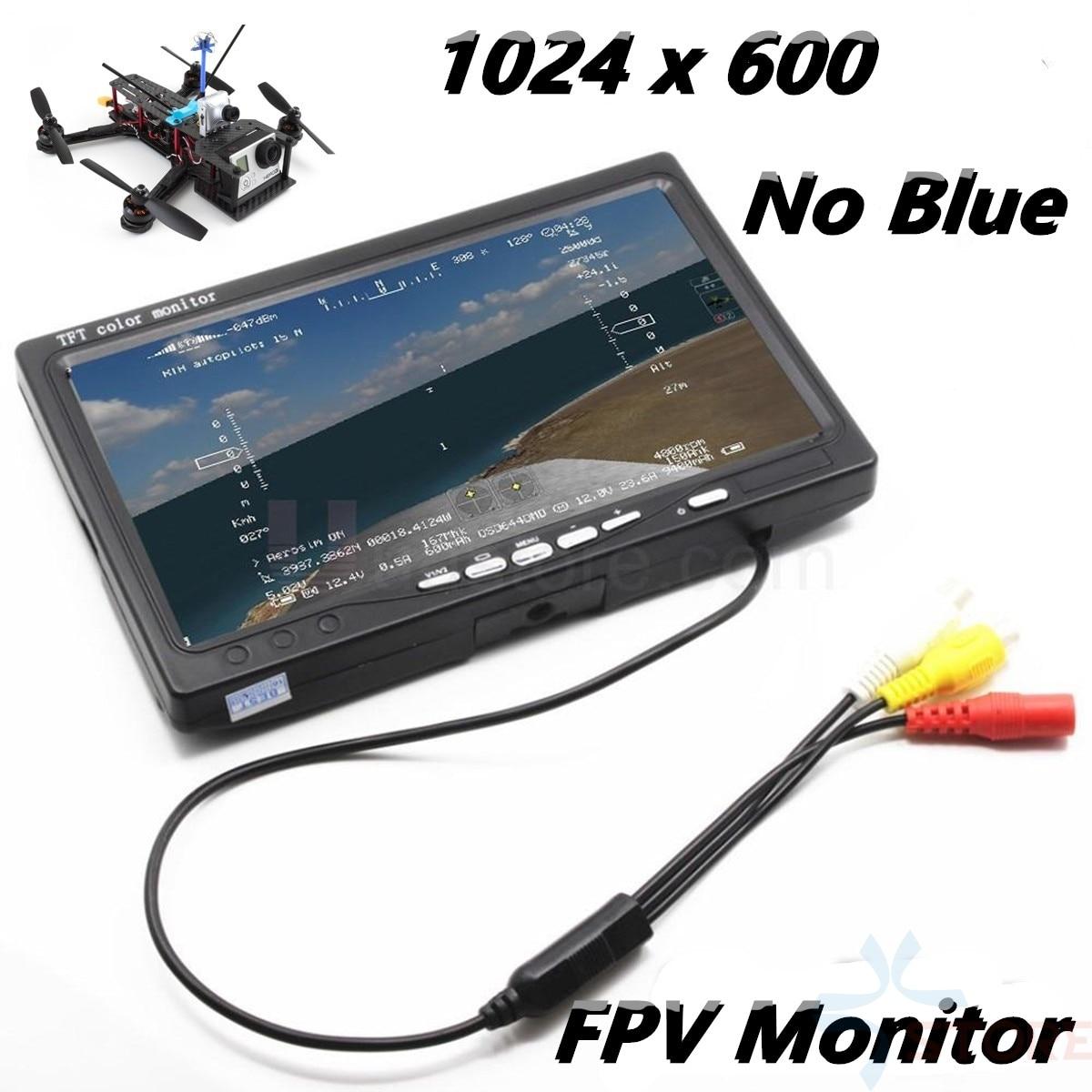 Mais novo ips 7 polegada lcd tft fpv 1024x600 monitor de tela controle remoto fpv monitor fotografia sunhood para estação à terra