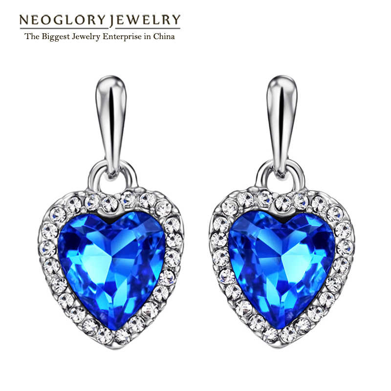 Neoglory Blue Crystal Rhinestone Heart Love Dangle Drop Earrings For Women Girls Friend 2018 New Jewelry Charm Gifts Fashion He1