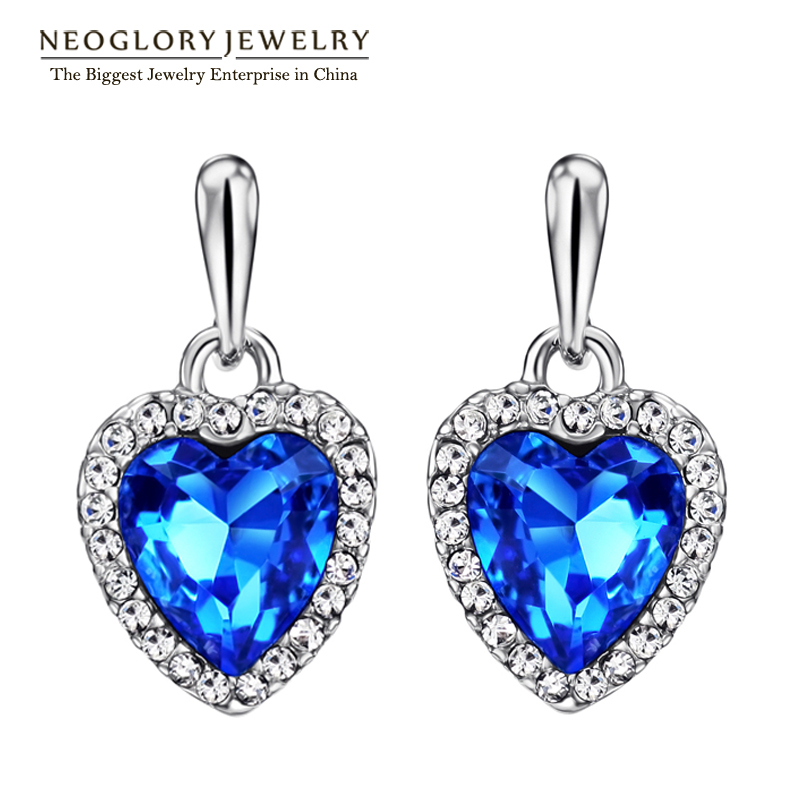 Neoglory Blue Crystal Rhinestone Heart Kärlek Dangle Drop Earrings For Women Girls Friend 2018 Nya Smycken Charm Presenter Mode He1