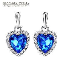 Neoglory Blue Crystal Rhinestone Heart Love Dangle Drop Earrings For Women Girls Friend 2018 New Jewelry Charm Gifts Fashion He1(China)