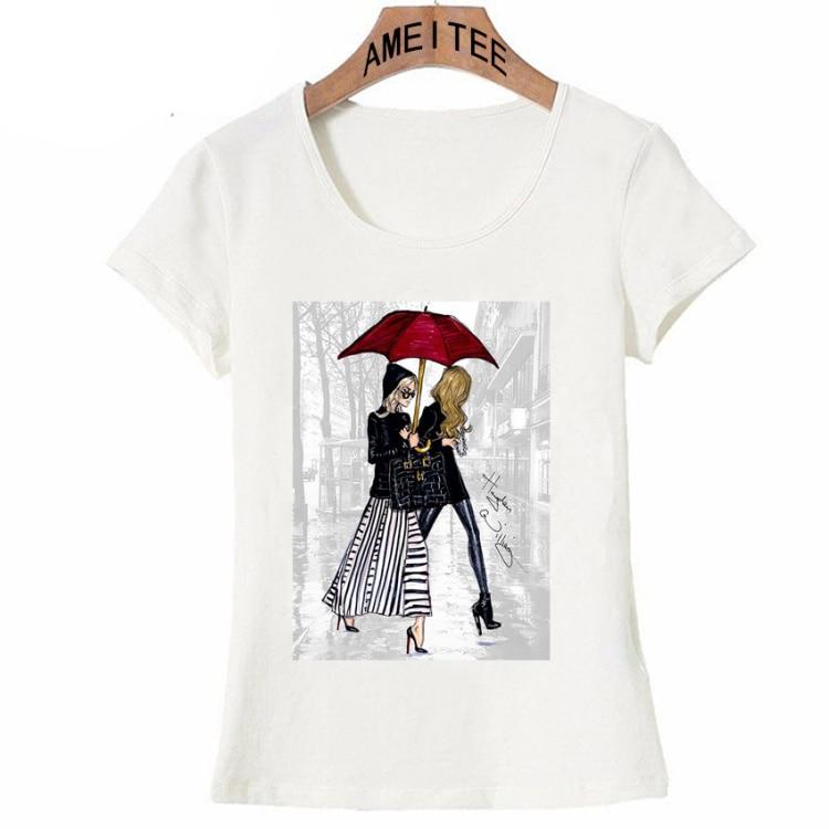 Vintage Vogue Paris Black printing Girl Shirt Summer Fashion T Shirt novelty casual Tops 21
