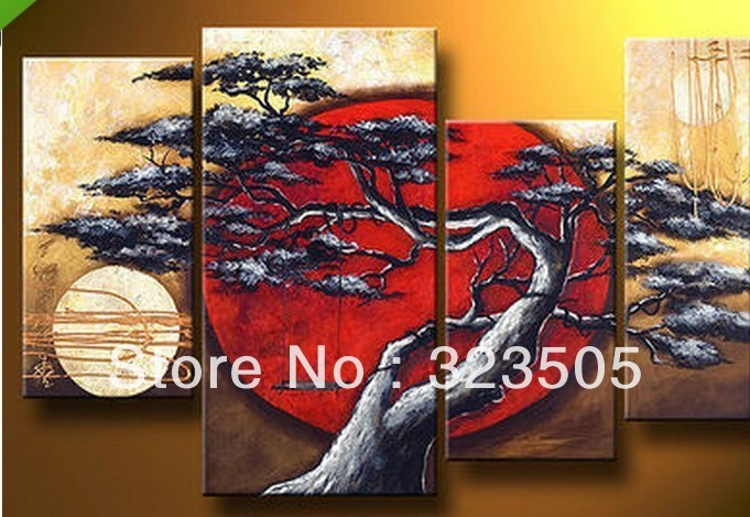 MUYA hand painted modern abstract oil painting canvas art sunset painting landscape acrylic paintings living room pictures