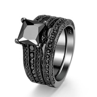 Black Cz Diamond Ring Sets Wholesale Factory Oem Size 5 10 Finger Rings Jewelry Vintage Women