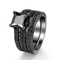 Black Cz Diamond Ring Sets Wholesale Factory Oem Size 5 10 Finger Rings Jewelry Vintage Women