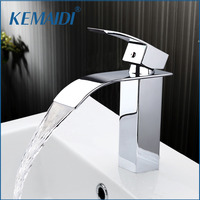 KEMAIDI New Arrival Bathroom Faucet Ceramic Waterfall Chrome Brass Basin Faucet Lavatory Combine Set Faucet Mixer Tap