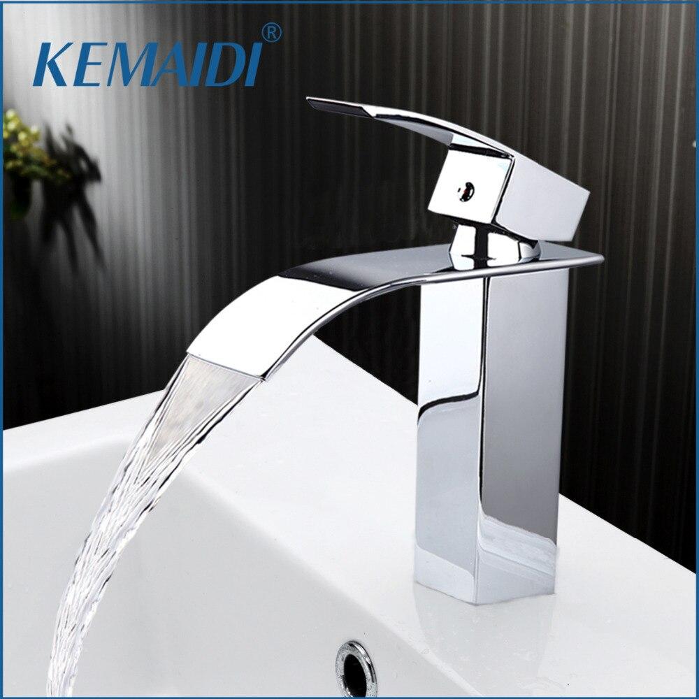 KEMAIDI New Arrival Bathroom Faucet Ceramic Waterfall Chrome Brass Basin Faucet Lavatory Combine Set Faucet Mixer Tap