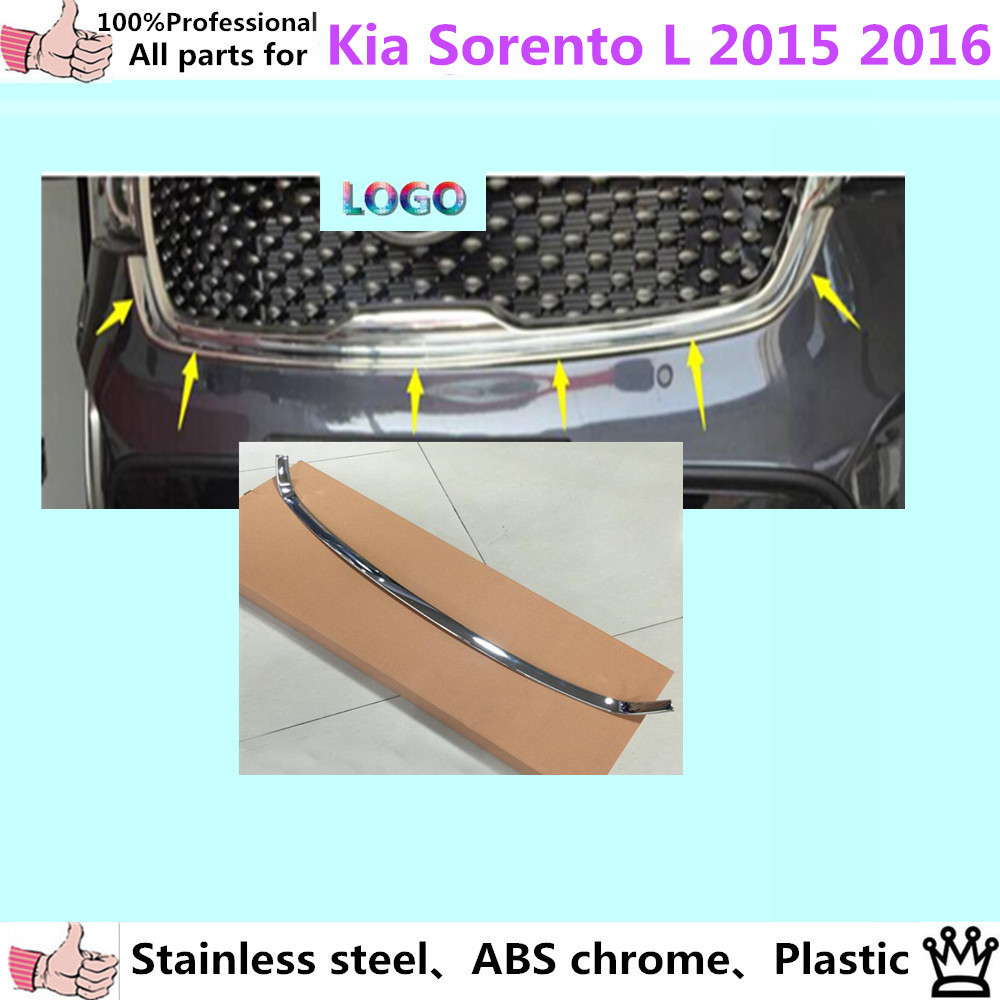 For Kia Sorento L 2015 2016 car body ABS chrome trim front racing Grid Grill Grille frame panel hoods moulding shell stick 1pcs  цены онлайн