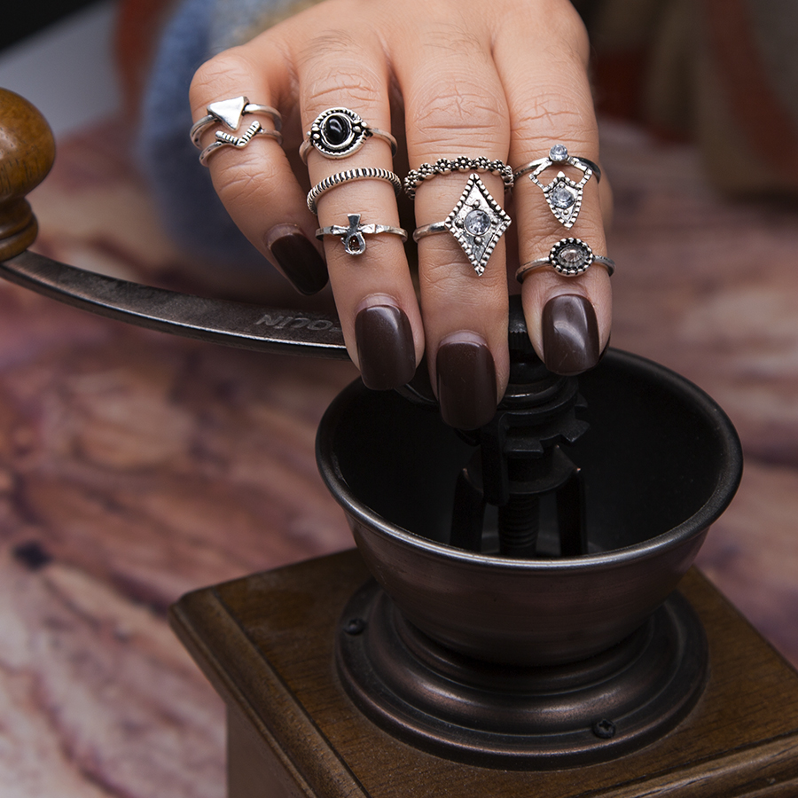 Knuckle Ring-Sets Finger-Rings Party-Anillos Triangle Vintage Women Punk Boho Geometric