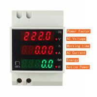 Din Rail Watt Meter AC 110V 220V 380V 100A Ammeter Voltmeter Volt Amp Active Power Factor Time Energy Voltage Current Montior