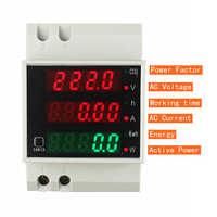 Din Rail Watt Meter AC 110V 220V 380V 100A Ammeter Voltmeter Volt Amp Active Power Factor Time Energy Voltage Current Montior