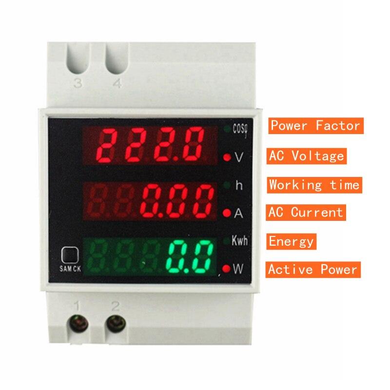 Trilho Din Medidor de Watt AC 110V 220V 380V 100A Voltímetro Amperímetro Volt Amp Tempo de Fator de Potência Ativa energia Atual Tensão Montior