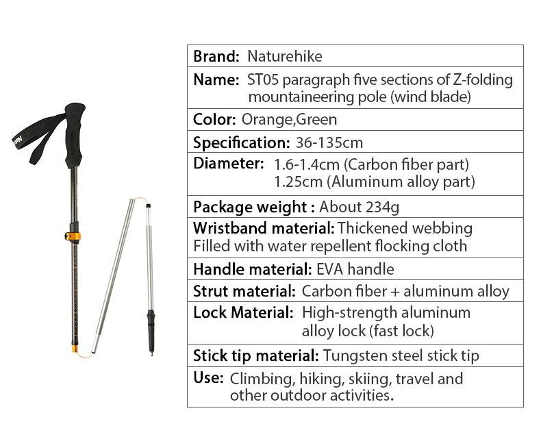 bengala ultraleve ajustável trekking pole 135cm 234g
