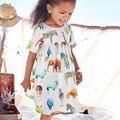 Atacado little maven 6 pcs animal padrão vestido da menina de verão na altura do joelho-comprimento vestido das meninas da forma animal do bebê roupas das meninas