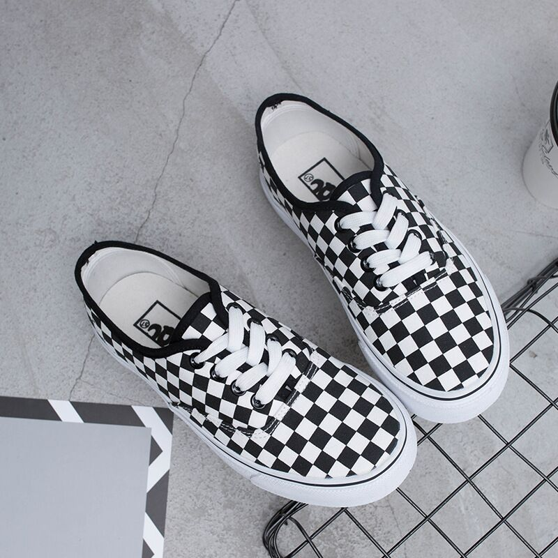 2018 New Rome Style Plaid Canvas Shoes Women Flats Low Top Lace Up - Zapatos de mujer - foto 4
