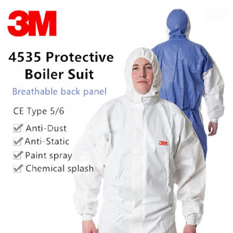 3m 4535 Disposable Chemical Protective Hooded Workwear Safety Anti-static Splash Breathable Back Panel Sms Paint Pesticide Suit