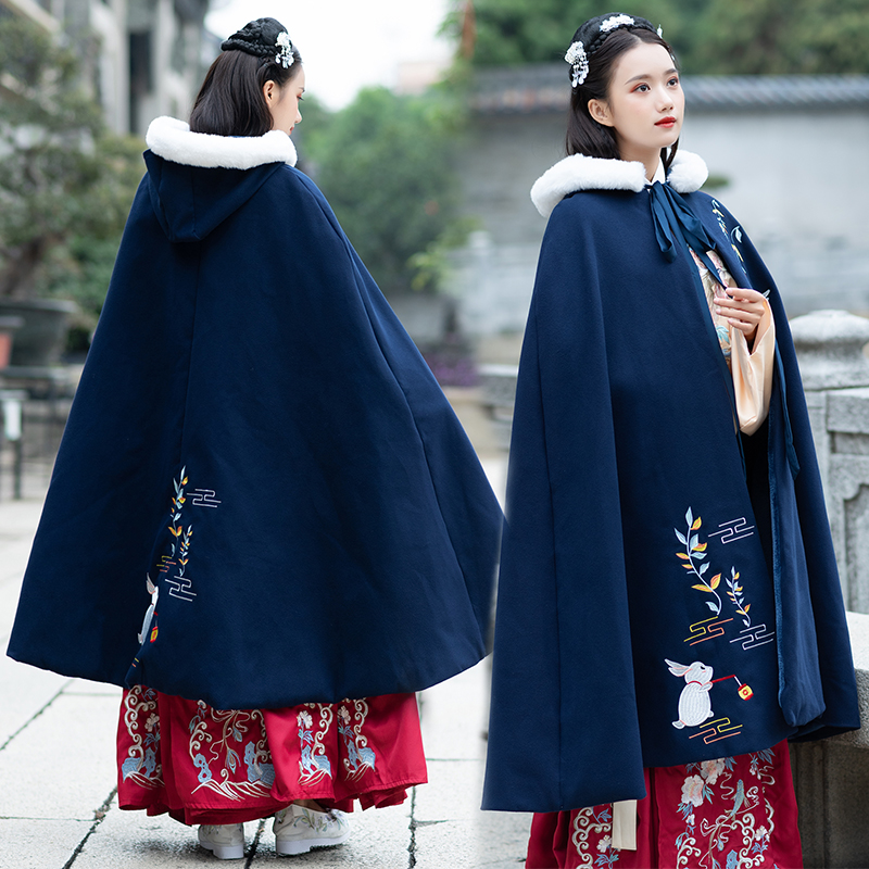 Hanfu Women Autumn And Winter Cloak Costumes Chinese Style Embroidery Flower Coat Chinese Traditional And Ancient Coat DQL369