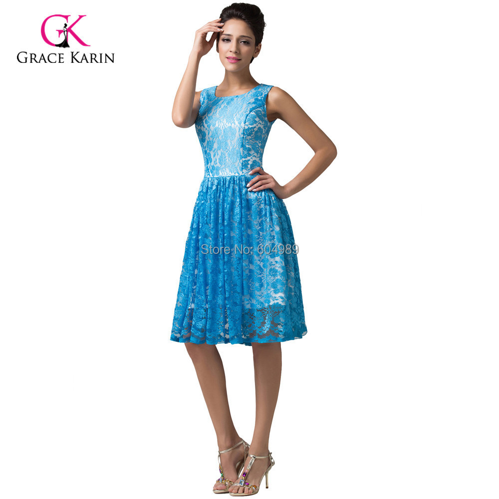 Charming Rockabilly Sleeveless Blue Lace Short Prom Dress Vintage ...