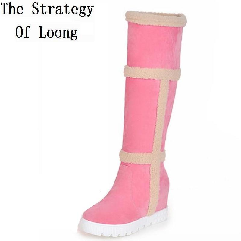 цена на Women Winter Height Increase Elevator Chunky Heel Round Toe Fashion Warm Knee High Boots Plus Size 34-43 SXQ1012
