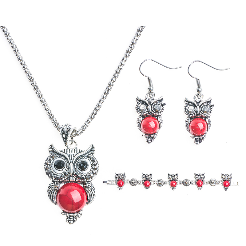 QCOOLJLY Summer Style Jewelry Sets Silver Color Vintage Pendant Necklace Owl Drop Earrings Charm Bracelet Fashion For women