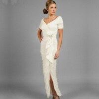 Дешевые Белый Винтаж мать невесты платье с Разделение рябить длинные шифоновые вечерние платья с короткий рукав