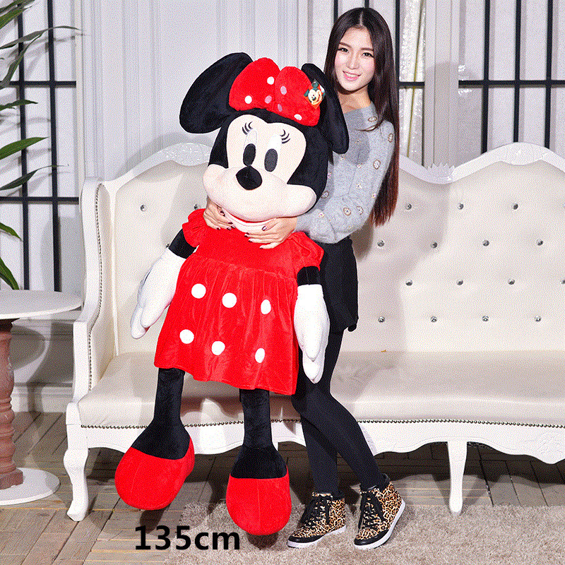 135c m Huge Mickey Mouse Dolls Big Pink Minnie Mouse Plush Toy Lover Dolls for Girls