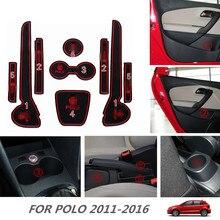 Для Volkswagen Мужские поло 2011-2016 силикагель Нескользящие Коврики S ворота Слот Pad Салонные подложки чашки площадкой для мужские Поло 2016