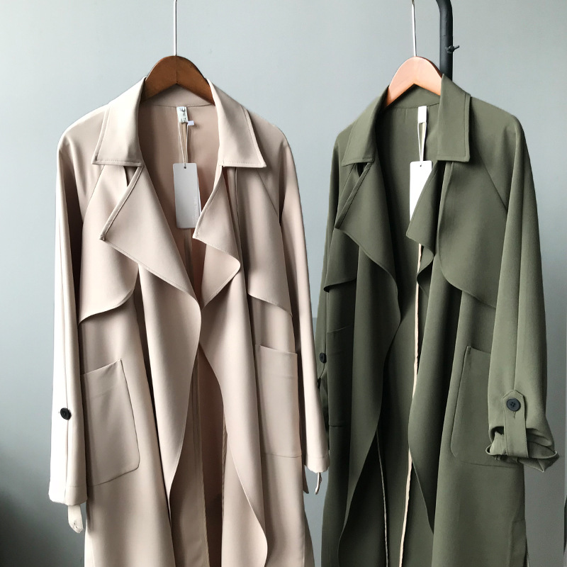 Chic Quotidienne army red 2018 Long Coupe Solide Vêtements Manches Simple Trench Green Lisse Pour Longues Cardigan Mode Beige Printemps vent Élégant Femmes RHxRqrw4P