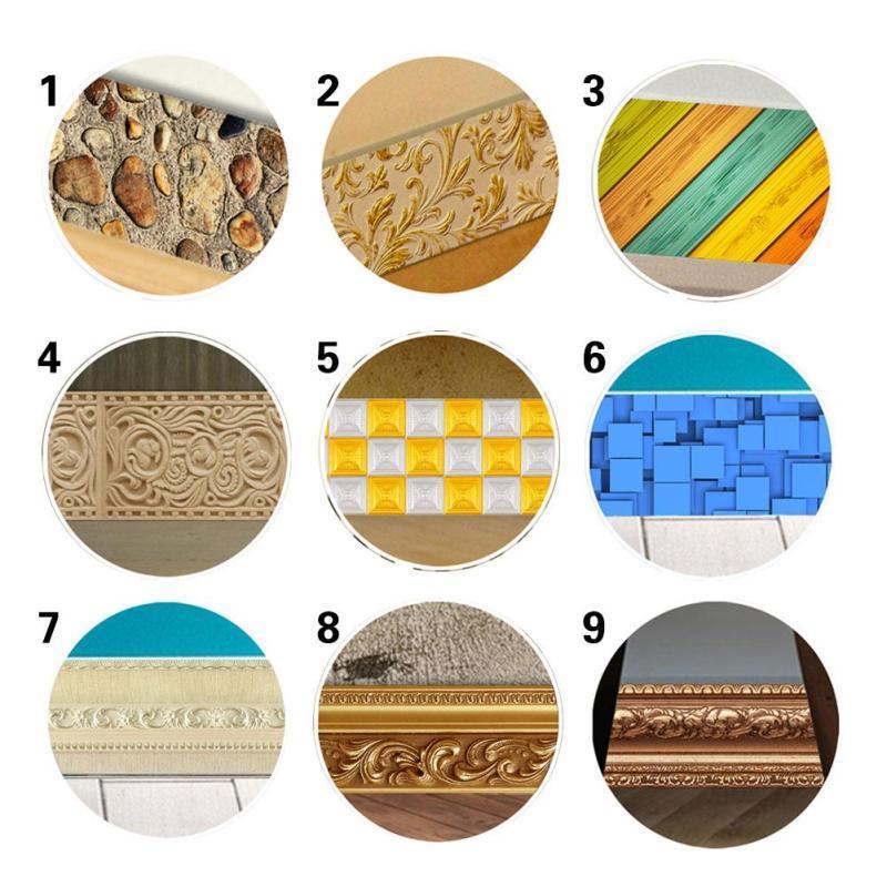 5m Waterproof Waist Line Wallpaper Border Sticker 3D Anti Slip Waterproof Waistline Wallpaper Rolls Skirting Stickers Home Decor