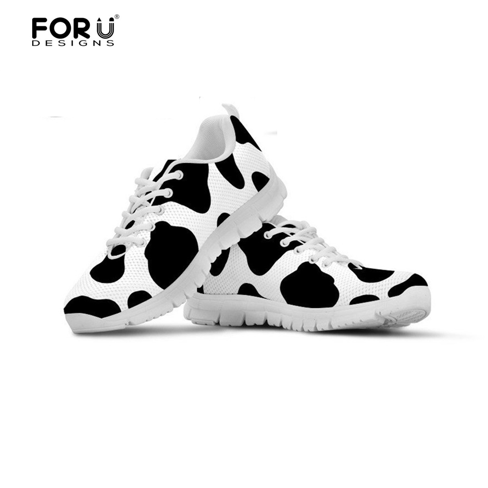 FORUDESIGNS Cow Lover Women Shoes Flats Sneakers Woman Casual Summer Breathable Mesh Light Walking Shoes for Ladies Comfort 2018 forudesigns fashion women flat shoes female teens girls floral print casual flats breathable walking shoes for woman plus size
