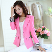 54351#High Quality Women Fashion Blazers and Jackets Black Pink Grey Candy color Small Suit Blazer Coat