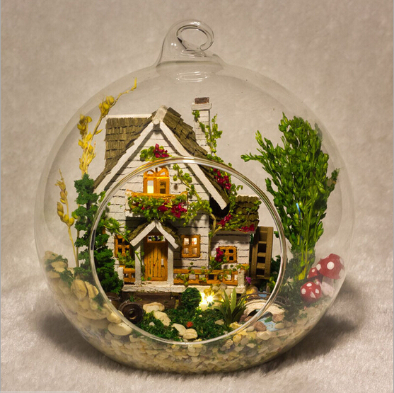 G015 DIY Doll House Miniatura Mini Glass Ball Forest Villa Model Villa Kits Wooden Miniature Dollhouse Toy